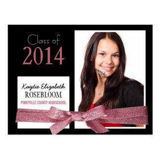 Graduação bonito da foto da fita do brilho do rosa cartão postal