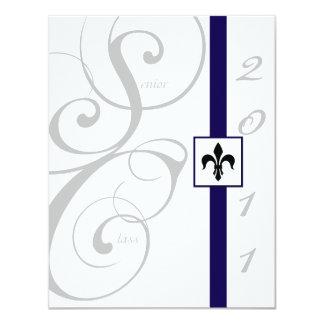Graduação branca e azul da fita de rolo convites personalizado
