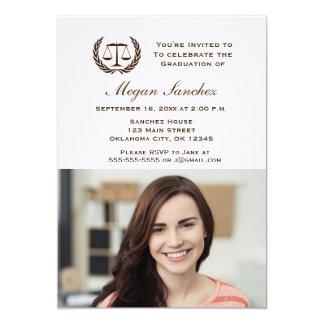 Graduação clássica da escola de direito convite 12.7 x 17.78cm