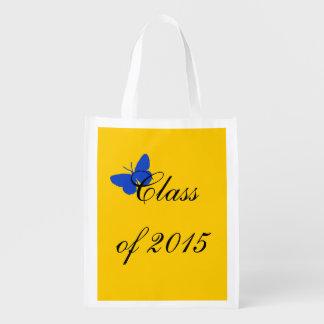 Graduação customizável - borboleta do azul e do ou sacola ecológica para supermercado