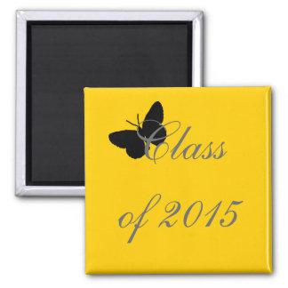 Graduação customizável - preto e borboleta do ouro ima de geladeira