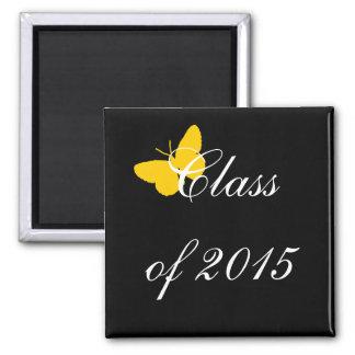 Graduação customizável - preto e borboleta do ouro imas de geladeira