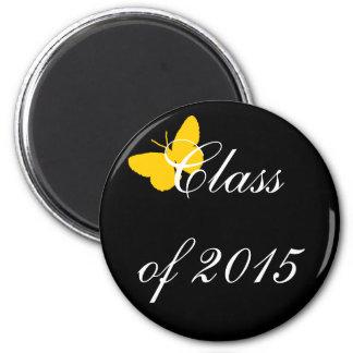Graduação customizável - preto e borboleta do ouro imãs de geladeira