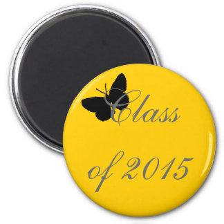 Graduação customizável - preto e borboleta do ouro imãs de refrigerador