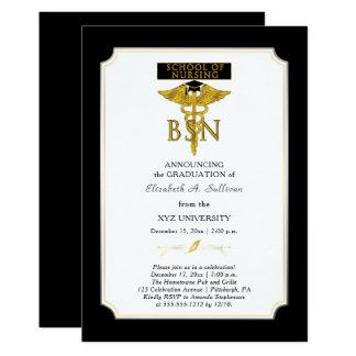 Graduação da enfermeira BSN da escola de Convite 12.7 X 17.78cm