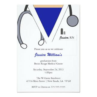 Graduação da escola de cuidados convite 12.7 x 17.78cm