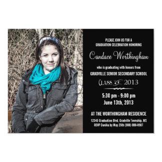 Graduação da foto de BW da jovem senhora moderna Convite 12.7 X 17.78cm