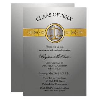 Graduação de prata moderna elegante da escola de convite 12.7 x 17.78cm
