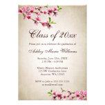 Graduação de Tan do vintage das flores de cerejeir Convites Personalizados
