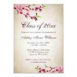 Graduação de Tan do vintage das flores de Convites Personalizados