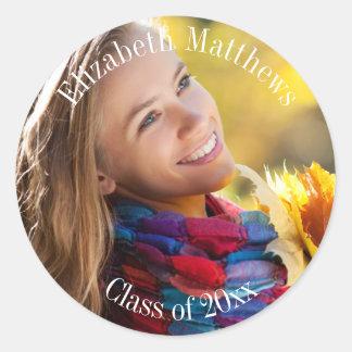 Graduação do ano do nome e da classe da foto adesivos redondos