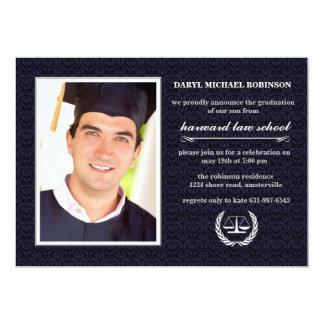Graduação do roxo da escola de direito da foto do convite 12.7 x 17.78cm