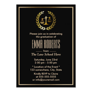 Graduação formal da escola de direito do preto & convite 12.7 x 17.78cm