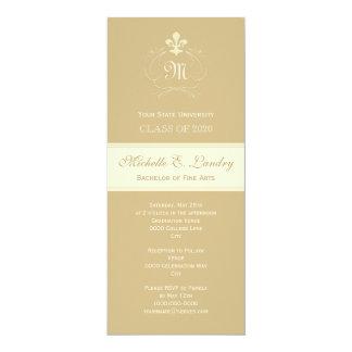 Graduação formal da flor de lis elegante do ouro convite 10.16 x 23.49cm