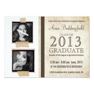 Graduação gravada da foto do quadro 2 modernos convite personalizado