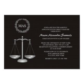 Graduação Inv da escola de direito da escala & da Convite 12.7 X 17.78cm