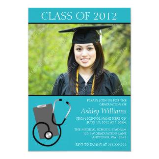 Graduação médica da foto da cerceta da escola de convite 12.7 x 17.78cm