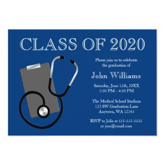 Graduação médica do azul da escola de cuidados convite 12.7 x 17.78cm