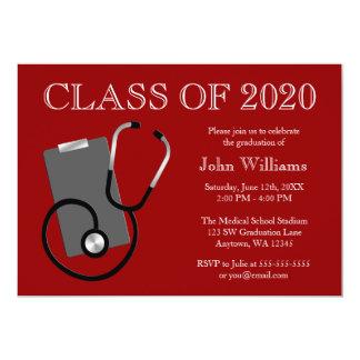 Graduação médica do vermelho da escola de cuidados convite 12.7 x 17.78cm
