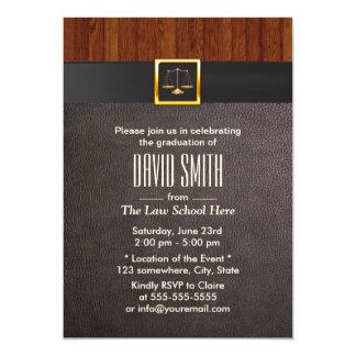 Graduação moderna da escola de direito do couro & convite 12.7 x 17.78cm