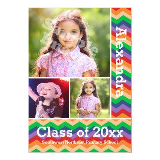 Graduação Preschool/K da foto do miúdo de Chevron Convite 12.7 X 17.78cm