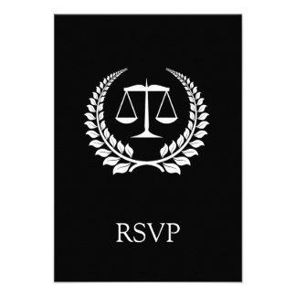 Graduação preta branca da escola de direito do lou convites personalizados