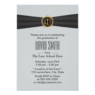 Graduação preta moderna da escola de direito da convite 12.7 x 17.78cm