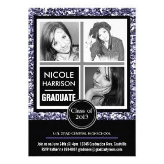 Graduação roxa moderna da foto do brilho 3 do fals convites