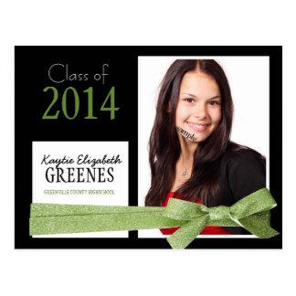 Graduação verde bonito da foto da fita do brilho cartões postais