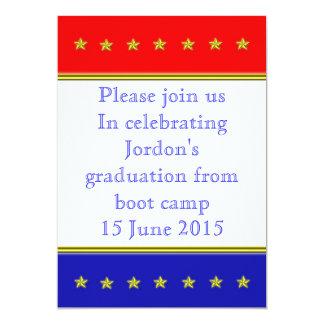 Graduação vermelha, branca e azul convite 12.7 x 17.78cm