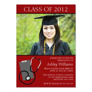 Graduação vermelha médica da foto da escola de convite 12.7 x 17.78cm