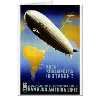 Graf Zepelim Vintage Alemão Viagem Cartão