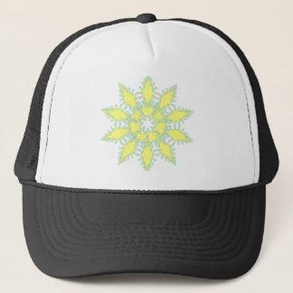 Gráfico amarelo do ícone do floco de neve no fundo boné