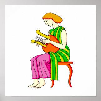 Gráfico antigo do estilo do jogador fêmea da harpa impressão