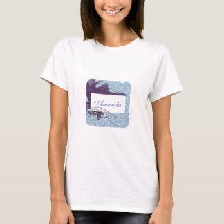 Gráfico azul e de prata do divertimento feminino camiseta