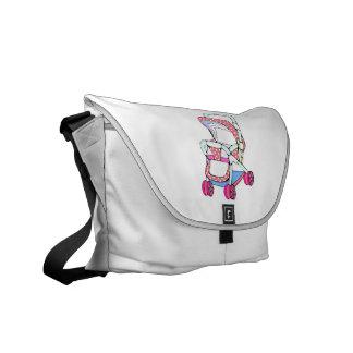 Gráfico cor-de-rosa extravagante do carrinho de cr bolsa mensageiro