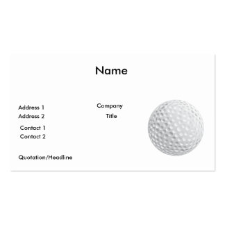 gráfico de vetor da bola de golfe modelos cartoes de visita