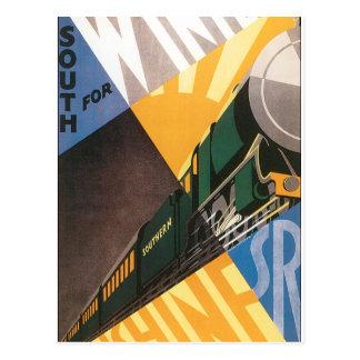 Gráfico do poster das viagens vintage do trem cartão postal