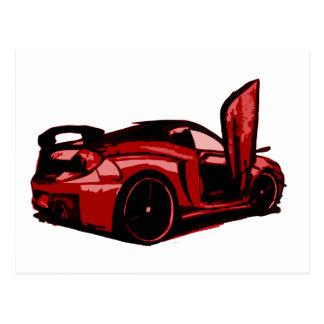 Gráfico dos desenhos animados do carro de esportes cartão postal