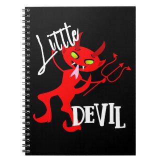 Gráfico engraçado pequeno bonito do diabo vermelho caderno