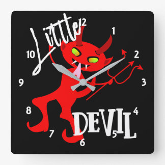 Gráfico engraçado pequeno bonito do diabo vermelho relógio quadrado