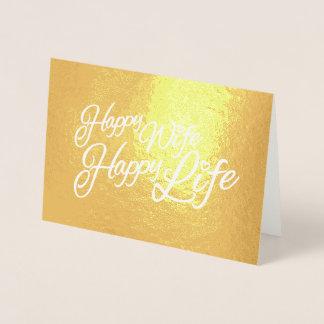 Gráfico feliz do texto do slogan da vida da esposa cartão metalizado