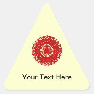 Gráfico redondo vermelho do teste padrão do laço adesivos em forma de triângulo