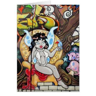 Grafites da menina do querubim cartões