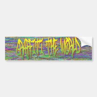 Grafites o autocolante no vidro traseiro do mundo adesivo para carro