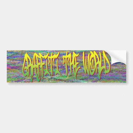 Grafites o autocolante no vidro traseiro do mundo adesivos
