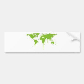 Grafites verdes pintados mapa do mundo adesivo