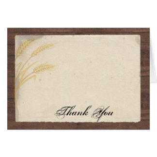 Grama do trigo do país no obrigado do pergaminho cartão comemorativo