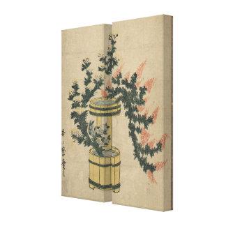 Gramas Potted do outono e imagem da arte do vintag Impressão De Canvas Envolvidas