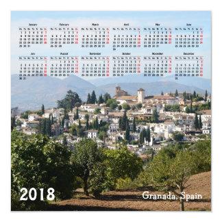 Granada, cartão magnético do calendário da espanha